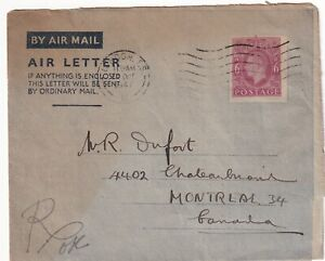 GREAT BRITAIN 1947 GEORGE VI AIR LETTER TO CANADA !! A25