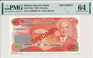 Reserve Bank Malawi  5 Kwacha 1986 Specimen PMG  64