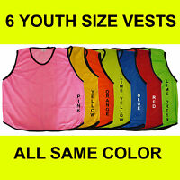 6 YOUTH SOCCER BASKETBALL MESH SCRIMMAGE VESTS