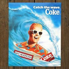 Vintage Original COCA-COLA SODA Max Headroom Advertising Poster 1980s NOS Unused