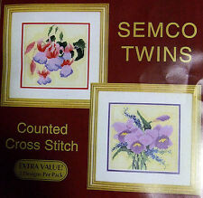 Fuschia & Orchid Flowers - Semco counted cross-stitch kit - 2 designs in one kit