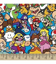 Nintendo Packed Characters Cotton Fabric ~ 43 x 14 remnant