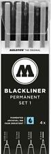 Molotow Blackliner Set 1 - 4 x Permanent Black Fineliner Marker Pens