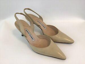 Manolo Blahnik Carolyne Sling Back Ankle Strap Heels Shoes Beige 36/6