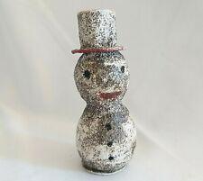 Antique Spun Cotton Snowman Figure Made In Japan Silver Glitter Christmas