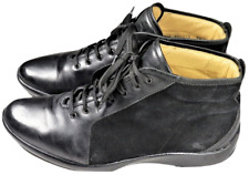 Zegna Sport Mens Shoes Ankle Boots Black 10.5 W Sneakers Suede Leather Italy