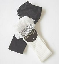 Lady Women Girl Retro White Ruffle Frilly Lace Knees Long Cotton Socks Tights