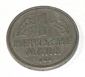 1950 DEUTSCHE 1 MARK J BUNDESREPUBLIK DEUTSCHLAND GERMANY EAGLE COIN