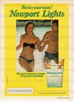 1979 Newport Lights Vintage Magazine Ad Sexy Black Bikini In The Water