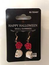 Skull & red rose earrings Day of the dead Rockabilly Fashion jewelry
