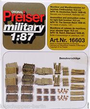 Preiser 16603: Munition und Kisten zur Feldhaubitze Wehrmacht WK 2, 1:87/ H0 [G]