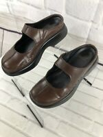 Dansko Women's Brown Leather Mary Jane Slip On Wedges Sz 38 EU 8 US