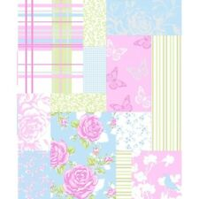 Sky Blue / Pink - M0720 Pollyanna - Patchwork - Rose - Shabby Chic - Wallpaper