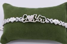 "7.5"" I Love You Kisses Hearts Bracelet 14K All White Gold Clad Silver 925 XOXO"