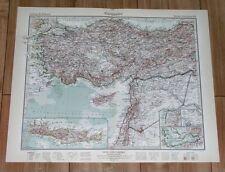 1932 ORIGINAL VINTAGE MAP OF TURKEY SMYRNA SYRIA CYPRUS LEBANON