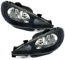Black finish Headlights front halogen H4 lights for PEUGEOT 206 98-03