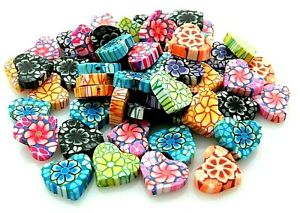 48 Fimo Polymer Clay Flat Heart 15x13mm Valentines Day Assorted Mix Colors Beads