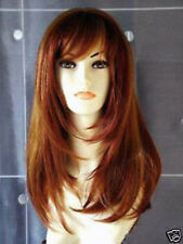 New Fashion Long Copper Red Mix Blonde Women Wig