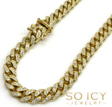 6.40ct 6mm Mens 10k Yellow Gold Round Diamond solid Cuban Miami Chain Necklace