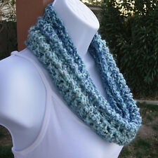 Women's SUMMER COWL SCARF Light Blue Gray Grey Small Short Handmade Crochet Knit