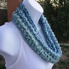Women's SUMMER COWL SCARF Light Blue Gray Grey Small Short Handmade Crochet Knit