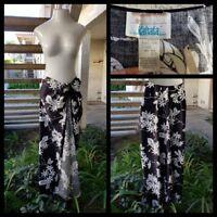 NEW women KAHALA One Size 6 / 8 long maxi sarong skirt black floral print TALL
