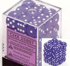 Chessex Dice d6 Sets Opaque Purple with White 36 12mm Six Sided Die CHX 25807