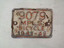 Early Postwar 1947 - 48 Mpls Bicycle License Plate Minneapolis Mn