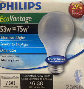 Philips 53W 120V A19 Frosted Natural Light Bulb (24 Lamps)