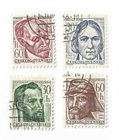 Czechoslovakia postage stamps x 4, 1966 Cultural Anniversaries