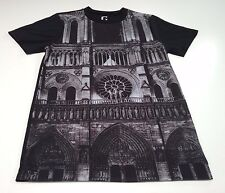 (XS) GUESS Notre Dame Church Front Print Black Shirt Georges Marciano Catholic