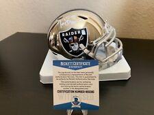 Oakland Raiders Tim Brown Signed Chrome Mini Helmet with Beckett COA