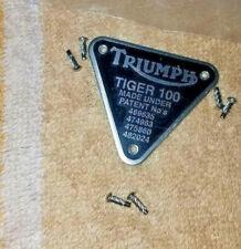 TRIUMPH PREUNIT TIGER 100 ENGINE MOTOR MOUNT CRANK CASE TIMING COVER BADGE PLATE