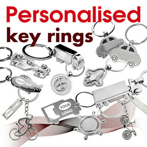 Personalised Keyring engraved with text, name, logo *16* GIFT * car * airplane