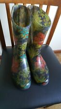 Womens Sloggers Waterproof Rain & Garden  Boots - Midsummer Night - Size 10 EUC