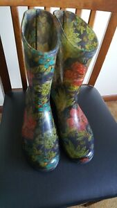 Womens Sloggers Waterproof Rain & Garden  Boots - Midsummer Night - Size 10 EUC