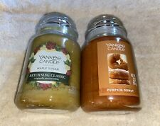 2 YANKEE CANDLE 22 OZ OUNCE PUMPKIN DONUT & MAPLE SUGAR LARGE JAR LOT