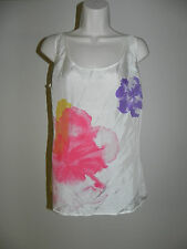 New York & Company Blouse XS Tank Top 100% Silk Ivory Multi Color Womens NWT