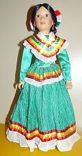 """Porcelain Lady Doll in colorful Jamaican Outfit 18"""""""