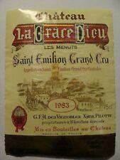 Etiquette - Château LA GRACE DIEU - LES MENUTS -1983- St-Emilion Grand Cru -(E5)