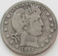 1914-S Barber Quarter in a SAFLIP® - VG- (Good+) Details