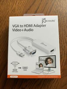 J5Create VGA To HDMI Video Audio Adapter White JDA214
