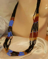 Gorgeous Long Glass Seed Bead Vintage 70 Long Black Blue 8 Strand Necklace 15M7