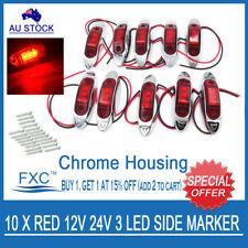 10 X 12V SUPERFLUX 3-LED RED MARKER/CLEARANCE LIGHT - Boat/Trailer/Truck/Caravan
