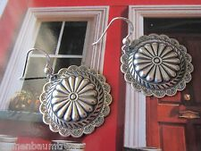 Concho Flower Wheel 925 Silver Hook Kirsten Earrings USA Made Velvety Gift Bag