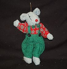 Classic Fuzzy Gray Mouse w Green Overalls Country Farm Shelf Christmas Ornament