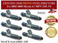 6 Fuel Injectors OEM DENSO for 2002-2008 Mazda 6/ MPV 3.0L V6 #2M2E-A7B