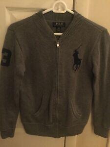 Boys' M (10-12) Polo Ralph Lauren dark gray knitted zip-up cardigan sweater used