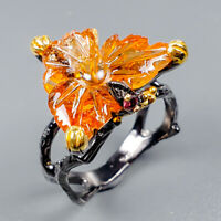 Handmade11ct+ Natural Citrine 925 Sterling Silver Ring Size 8.5/R124863