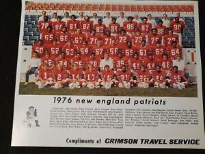 1976 New England Patriots 8x10 Team Photo Courtesy Of Crimson Travel Company